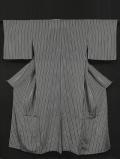 白地に縞文様 小紋 三本絽 単衣