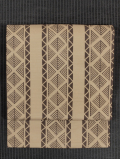 縦縞に松菱文様 型染め 綿絽 名古屋帯