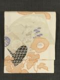 冊子に鳥に草花文様 型染めに手刺繍 絽 名古屋帯