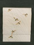 露芝に蜂文様 手描き染めに手刺繍 絽(夏塩瀬) 名古屋帯