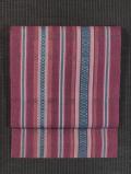 縞に幾何学文様 麻地 博多織 八寸名古屋帯