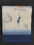 飯島桃子作 蓮の花に鳥文様 日本刺繍 麻 名古屋帯