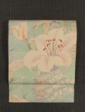 団扇に百合と秋草の絵図 型染め 絽 名古屋帯