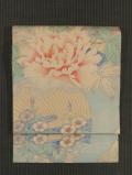 団扇に牡丹と秋草の絵図 型染め 絽 名古屋帯