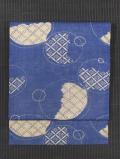 シャボン玉に七宝文様 型染め 綿麻 名古屋帯