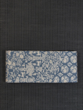 唐花草に鹿と鳥文様 型染め 半巾帯