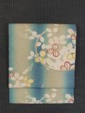 ぼかし縞に萩丸文様 型染め 絽 名古屋帯