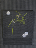 雪輪に春蘭文様 手刺繍 絽 名古屋帯