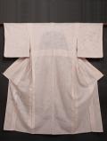 スワトウ刺繍に萩文様の友禅染め 付け下げ訪問着 紗合わせ 単衣