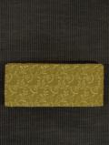 芥子色(からしいろ)地 唐花文様 刺繍 木綿 半巾帯
