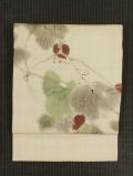 鬼灯(ほおずき)文様 手描き染め 生紬 名古屋帯