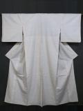 縞に幾何学文絣 白大島紬 単衣