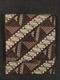 斜め縞に幾何学花文様 ジャワ更紗 名古屋帯