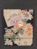 菊に福良雀文様 染めに手刺繍 名古屋帯