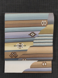 縞に幾何学文様 紬地 両面リバーシブル 洒落袋帯