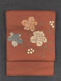 葡萄唐草文様 切りばめに刺繍 洒落袋帯