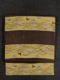 段縞に稲穂と雀文様 型染め 名古屋帯