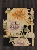 竹垣に菊文様 型染めに手刺繍 名古屋帯