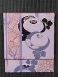 竹縞に万寿菊文様 型染め 名古屋帯