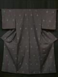 葡萄鼠(ぶどうねずみ)色地 琉球絣文様 真綿紬 単衣