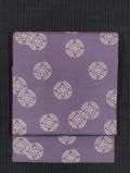 浅紫色地 紗綾型の地紋に花七宝文様 型染め 名古屋帯