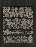 小花の地紋にモザイク画文様 型染め 名古屋帯