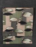 幾何学格子に木の葉文様 綿絣 名古屋帯