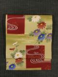 色紙に流水と草花文様 型染め 名古屋帯
