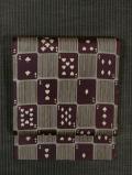 格子にトランプと縞文様 型染め 名古屋帯