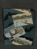 色紙に風景画と蝙蝠文様 型染め 名古屋帯