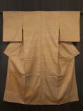 菊文様の型染めに仕覆(しふく)文様の手刺繍 付け下げ 紬 袷 【高島屋製】