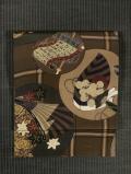 丸に能楽の器物文様 型染め 名古屋帯