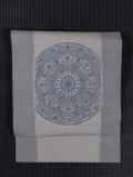 縞に丸と唐花文様 絞りに手描き染め 真綿紬 名古屋帯