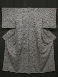 花織に更紗文様 型染め 紬 小紋 袷