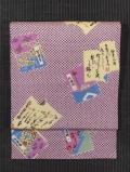 鹿の子に冊子文様 型染め 名古屋帯
