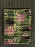 縞に幾何学と唐花文様 型染め 名古屋帯