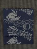 お伽噺に兎文様 綿絣 名古屋帯