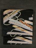 紗綾形の地紋に筏文様 型染め 名古屋帯