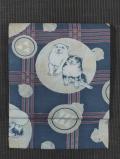 三舛格子に丸と犬文様 和更紗 名古屋帯