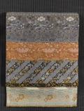 段縞に吉祥尽くし文様のきりばめ 西陣織 袋帯