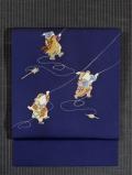 唐子に凧揚げの絵図 手描き友禅に手刺繍 塩瀬 名古屋帯
