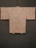 市松格子に綾杉文様 型染め 羽織 袷