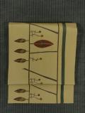 縞に枝葉文様 手描き染め 名古屋帯