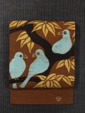 木に鳩の絵図 ろうけつ染め 手織り紬 名古屋帯  【作家もの】