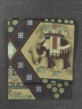 幾何学文に像とペガサス文様 型染め 名古屋帯