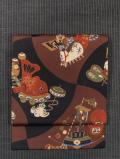 分銅繋ぎに玩具文様 型染め 名古屋帯