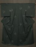 深緑色地 花に亀甲絣文様 結城紬 袷