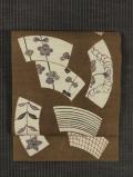 地紙に縞格子と草花文様 型染め 真綿紬 名古屋帯