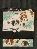 段縞に笹と子犬文様 型染めに手描き染め 名古屋帯