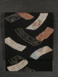 短冊に草花と和歌文様 絞り染めに手刺繍 名古屋帯